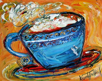 Fine art print COFFEE modern from oil painting by Karen Tarlton impressionism palette knife