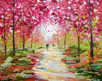 Custom Original Oil Painting Commission - Romance Landscape - impressionistic fine art by Karen Tarlton