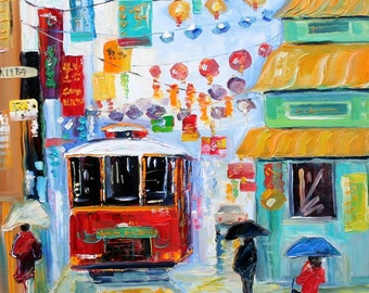 Custom Karen Tarlton Original Oil Painting San Francisco cityscape Commission - palette knife impasto fine art