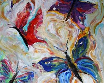Original oil painting BUTTERFLIES MODERN CONTEMPORARY Abstract impressionism palette knife fine art by Karen Tarlton