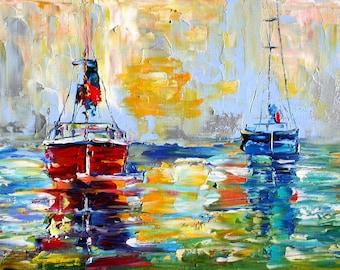 Original oil painting Harbor BOATS Sunrise palette knife fine art impressionism by Karen Tarlton