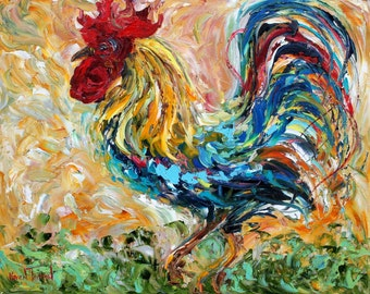 Commission ROOSTER Original Oil painting MODERN PALETTE knife texture impressionism by Karen Tarlton