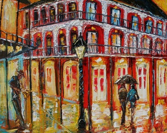 Fine Art Giclee Print on Canvas 30 x 36 from oil painting by Karen Tarlton - New Orleans French Quarter impressionism