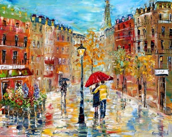 """Paris Romance canvas print 20"""" x 24"""" Gallery Quality Giclee on canvas made from image of past painting by Karen Tarlton fine art"""