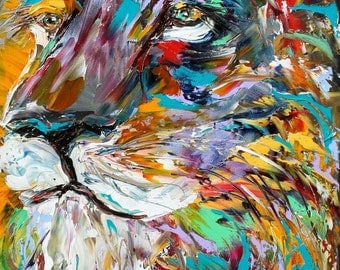 """Lion 20"""" x 40"""" Gallery Quality Giclee Print on canvas made from image of past Original painting by Karen Tarlton fine art"""
