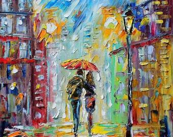 "Rain Romance 22"" x 28"" Gallery Quality Giclee Print on Museum Archival canvas of Original painting by Karen Tarlton fine art"