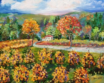 Print of Napa Valley Vineyard Gallery Quality Giclee Print on canvas from image of past Original painting by Karen Tarlton fine art