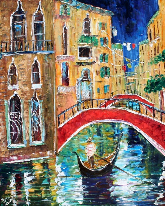 Fine Art Print 16 x 20 made from image of oil painting by Karen Tarlton - Venice Italy modern fine art impressionism palette knife
