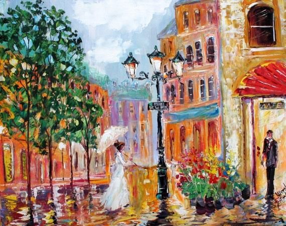 Fine Art Print 11 x 14 from oil painting by Karen Tarlton - Paris Romance