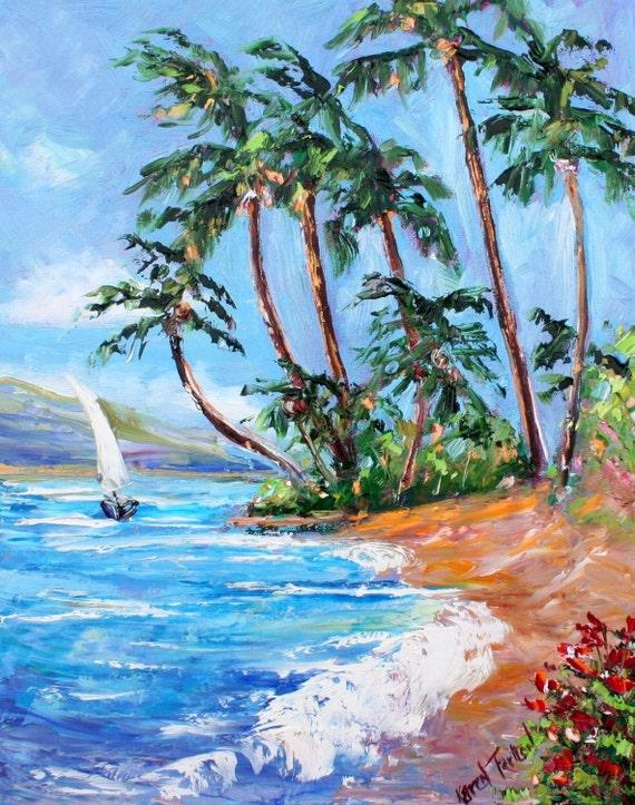 Fine Art Print 11 x 14 from oil painting by Karen Tarlton - Tropical Breeze