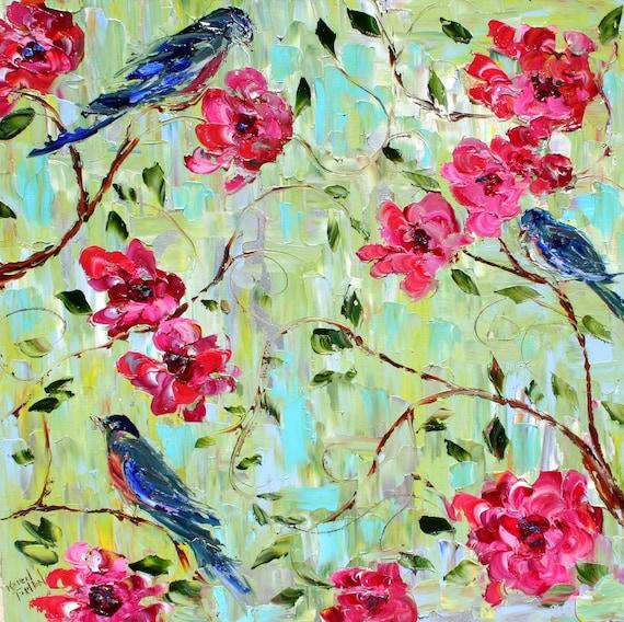 Karen Tarlton original oil painting - Birds and Spring Blooms - impasto palette knife impressionism