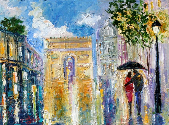 Reserved for Charlotte - Original oil painting Paris Rain Romance - impressionism city Landscape on canvas fine art by Karen Tarlton