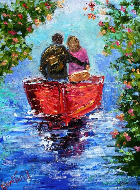 original oil painting romantic couple palette knife fine art