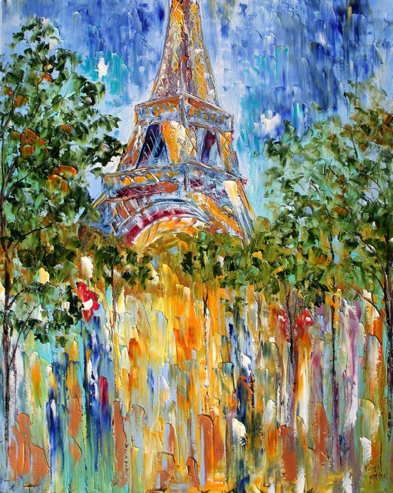 Print made from image of oil painting PARIS EIFFEL TOWER - print by Karen Tarlton