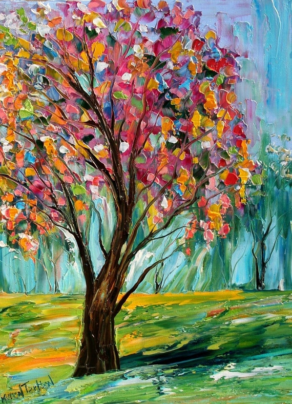 Original oil painting Spring TREE Landscape palette knife fine art impressionism by Karen Tarlton