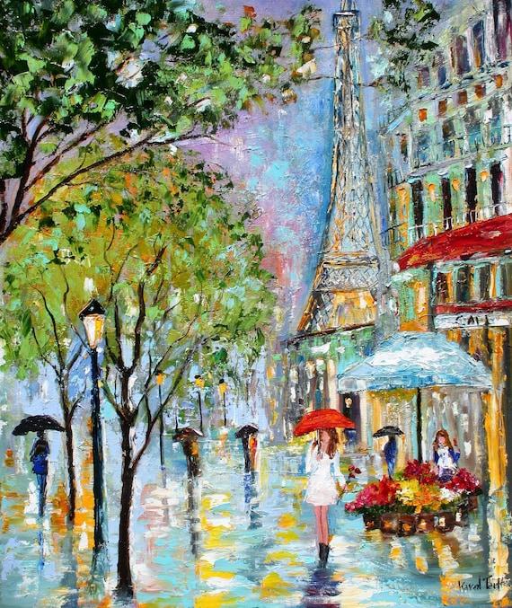 Original Painting Paris Rain Cityscape Modern Texture Oil