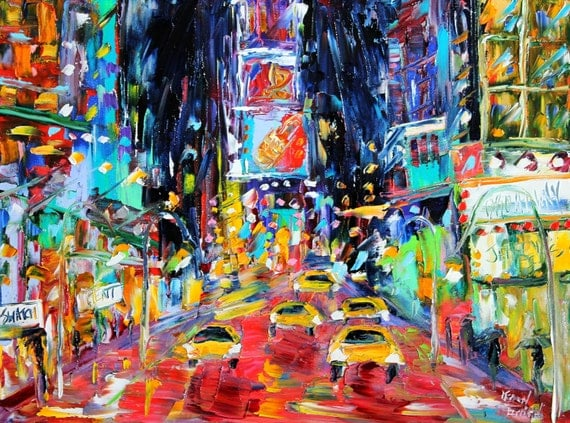 Original painting Times Square New York palette knife painting modern fine art impressionism by Karen Tarlton