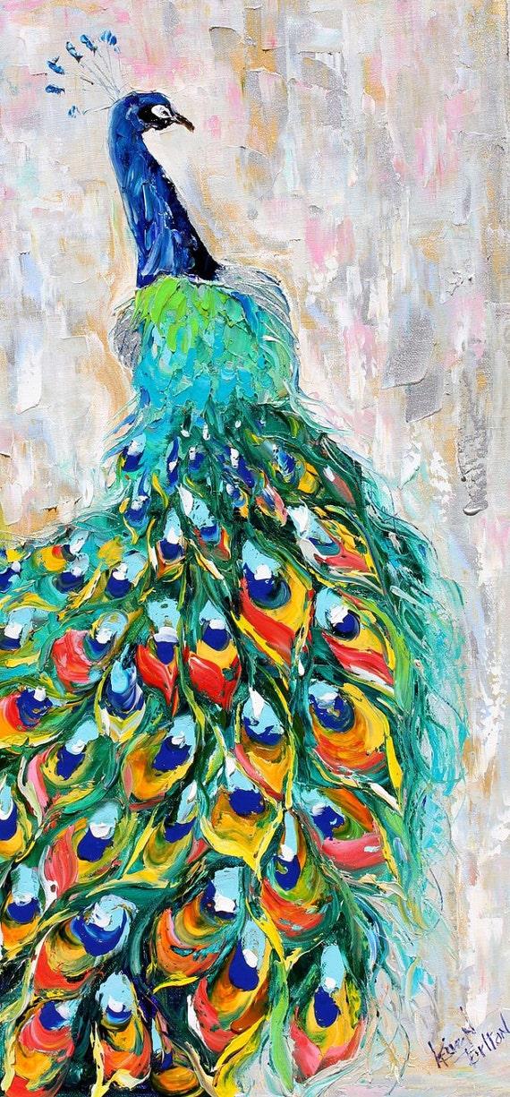 Original oil painting PEACOCK bird decorative palette knife fine art impressionism by Karen Tarlton