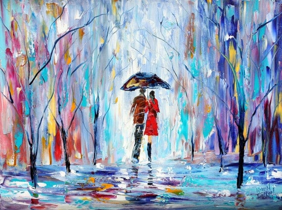 Landscape painting original oil Rain LOVE palette knife on canvas fine art impressionism by Karen Tarlton
