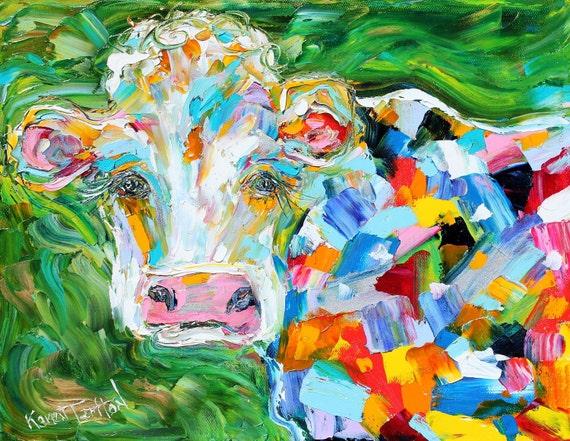 Original oil painting ABSTRACT MODERN COW Bovine fine art palette knife impressionism by Karen Tarlton