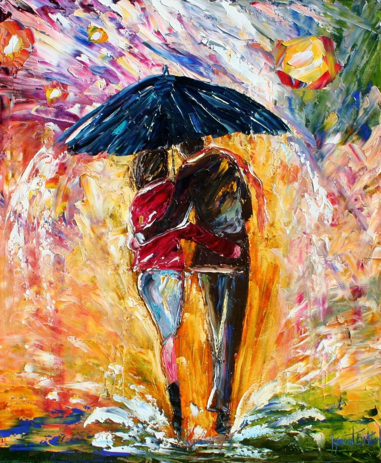 Karen Tarlton Original Oil Painting Umbrella Rain Couple Art