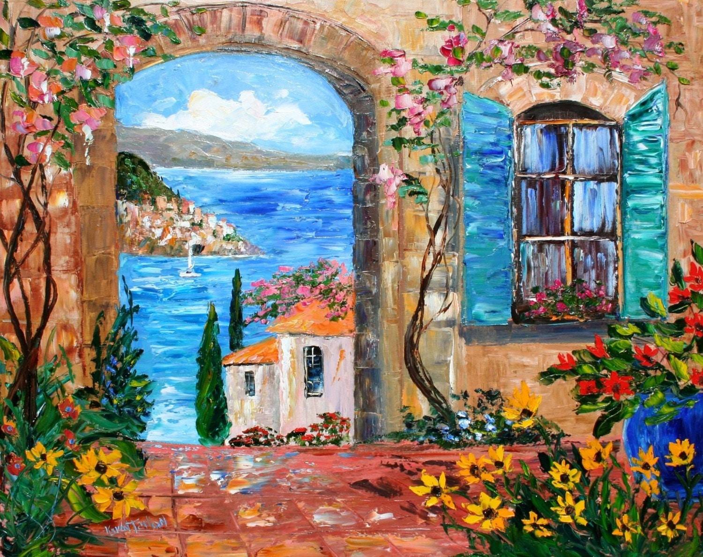 Karen Tarlton Original Oil Painting Amalfi Coast Italy