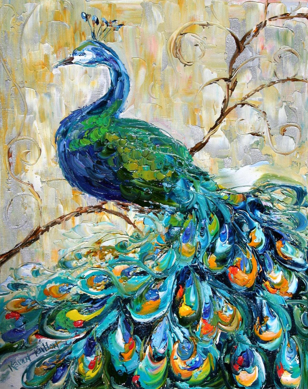 Original oil Painting Peacock Impressionistic impasto art by