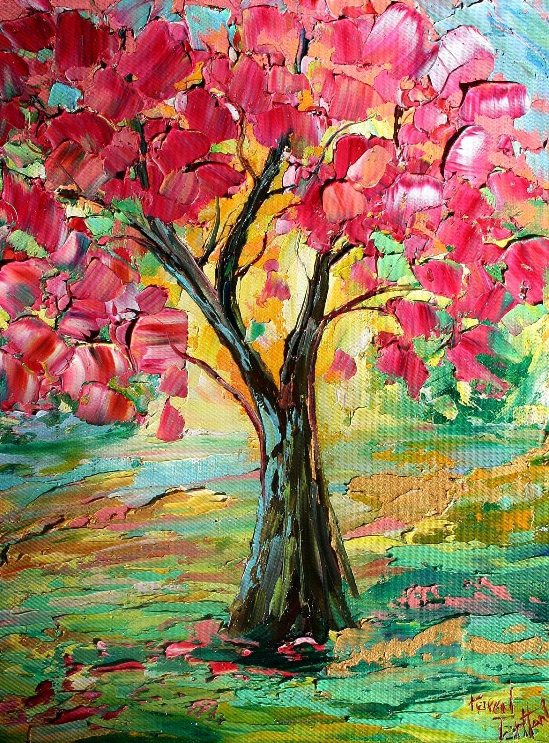 Original oil painting spring tree landscape palette knife fine for Spring canvas paintings