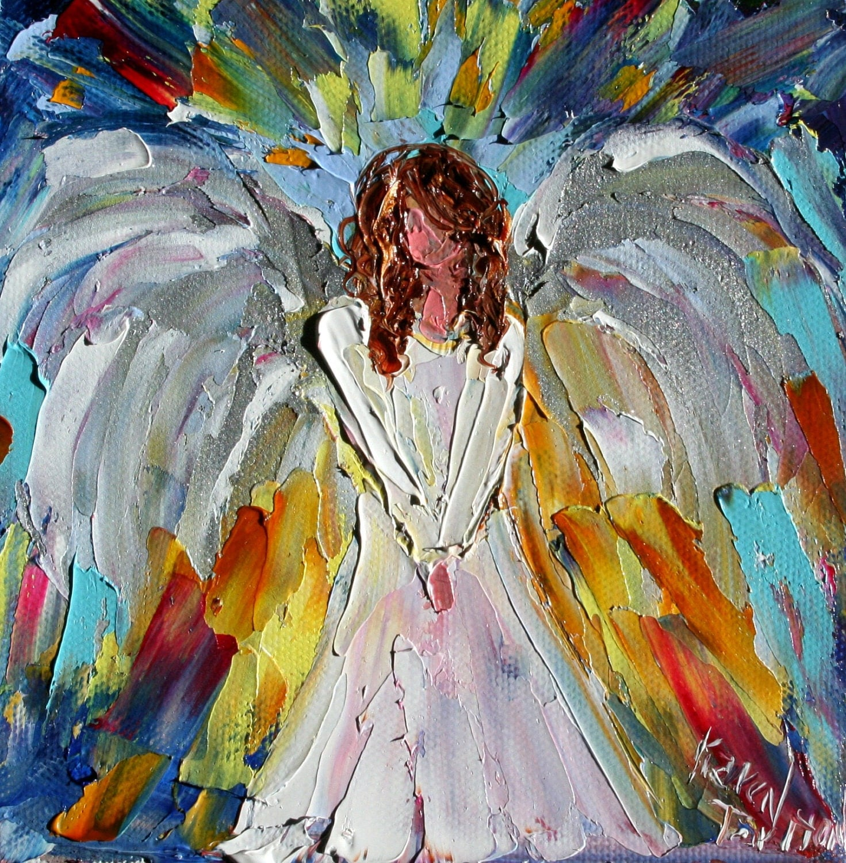 Original Oil Painting ANGEL Whimsical Impasto Palette Knife