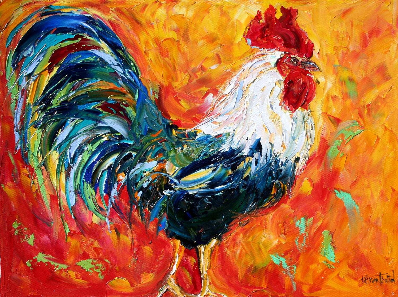 Original oil painting impasto rooster palette knife fine art for Oil art for sale