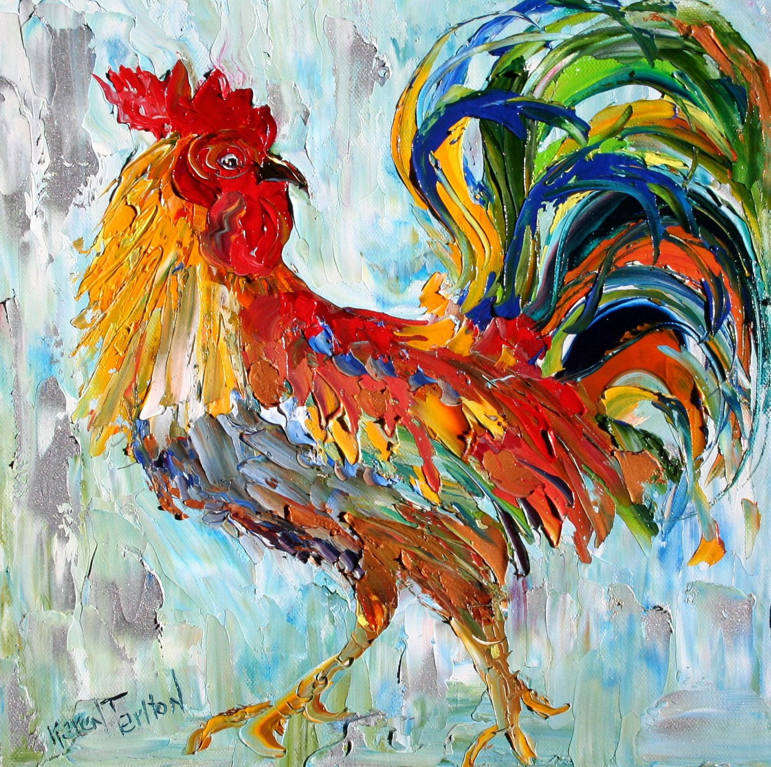 Commission ROOSTER Original Oil Painting MODERN PALETTE Knife