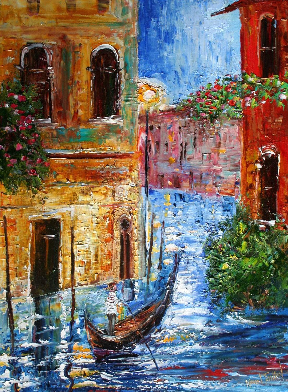 Original Oil Painting Venice Italy Gondola Palette Knife