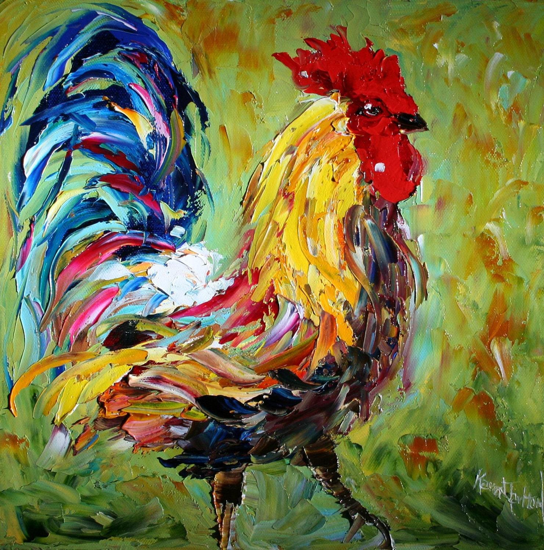 Original Oil Painting Texture ROOSTER Palette Knife Fine Art