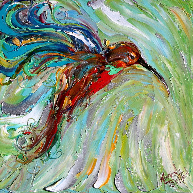 Original Oil Painting Hummingbird Palette Knife By