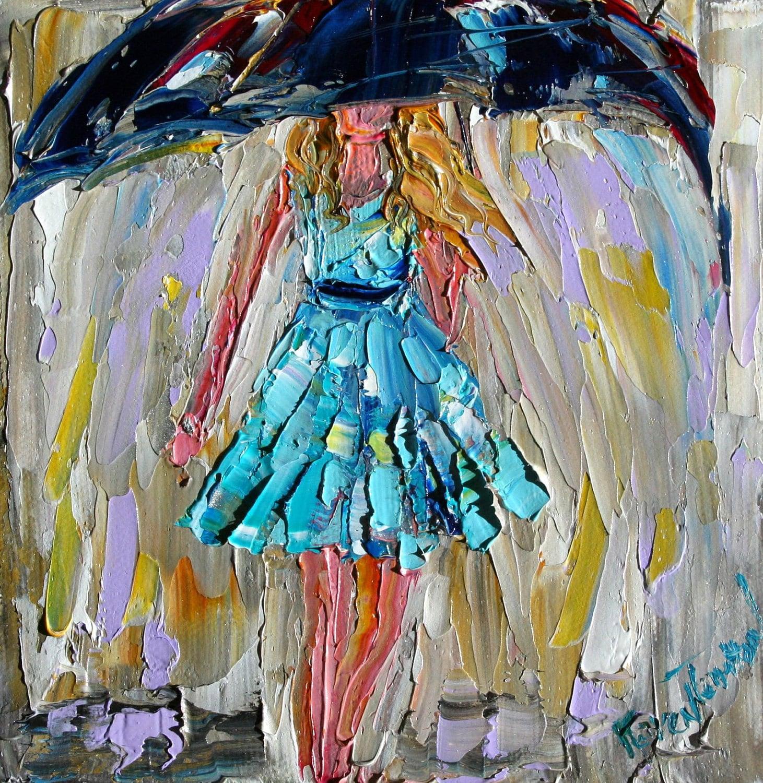 Original Oil Painting BLUE RAIN GIRL By Karensfineart On Etsy