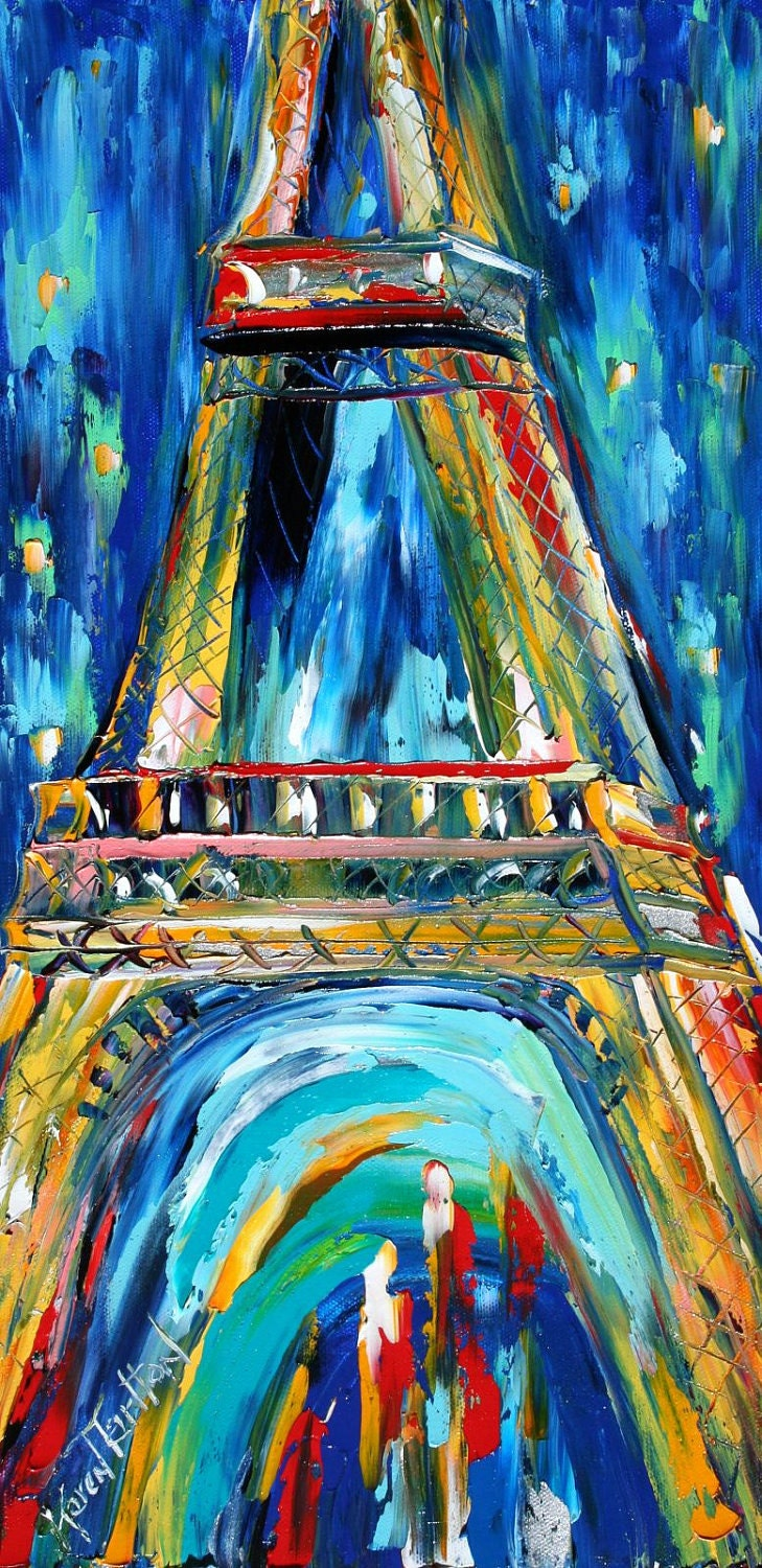 Paris eiffel tower night cityscape original oil painting for What is canvas painting