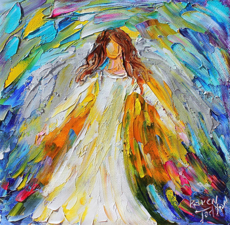 Original oil ANGEL PALETTE KNiFE painting modern impressionism Oil Paintings Of Angels