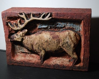 Elk - brick sculpture for garden, or interior, or as a part of a masonry wall, etc