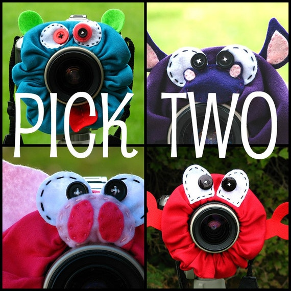custom PICK TWO large Lens Pets for your camera - Your Choice