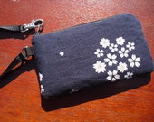 iphone case  /Black Berry/Digital Camera/Sleeve Pouch-- Japanese Kimono Print Fabric--Cherry Blossoms