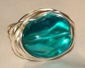 Aqua Beach Glass Wire Wrapped Ring