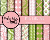 Damask Pink Lilly Pad  14 pc Digital Paper Set Pink Green Invites Cards Scrapbooking Invitations Cupcakes