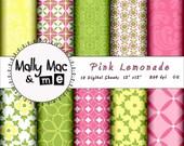 Pink Lemonade Damask 10pc Digital Paper Pack Set Printable scrapbooking DIY Wedding invitation
