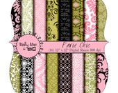 Damask Paris Chic  16 pc Digital Paper Pack Set by Mally Mac and me Pink Green Black  Printable Save the Date Wedding Invitations
