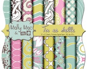 "Tu es belle by Mally Mac & me Digital Paper Set Pack 12"" x 12"" 300 dpi Chevron Damask Printable Scrapbooking Cards Wedding"