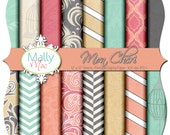 "Mon Chéri  Digital Paper Set Pack  16 12"" x 12"" 300 dpi Chevron Damask Printable Scrapbooking Cards Wedding Save The Date by Mally Mac & me"