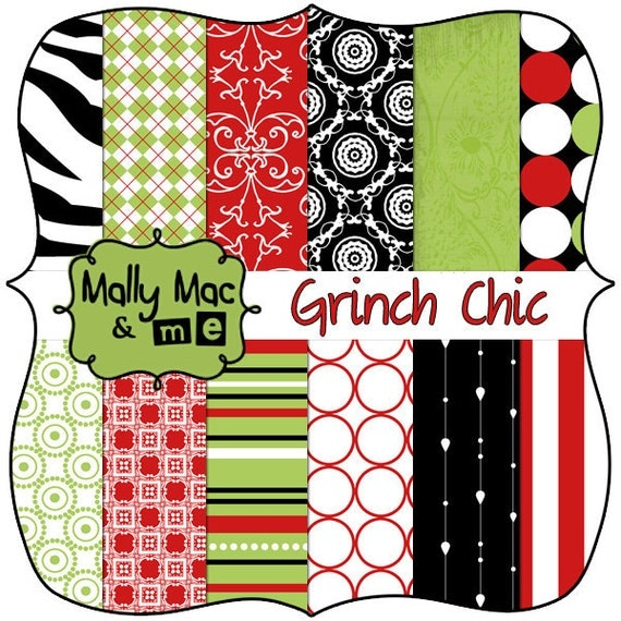 "Digital Paper Set "" Grinch Chic "" Christmas  from Mally Mac and Me  Damask, Stripes and Polka Dot Digital Printable Scrapbook Paper Pack"