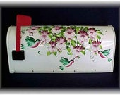 Whimsical Hummingbird Hand Painted Mailbox