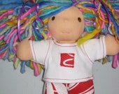 t-shirt and short set made to fit the Waldorf 7 to 8 inch style dolls
