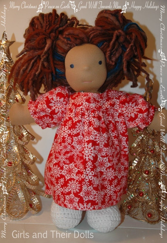 Flannel nightgown made to fit the Waldorf style 12 to 15 inch dolls